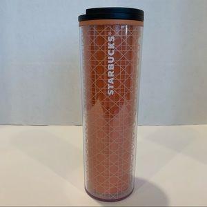 STARBUCKS NWT orange geometric thermal travel mug